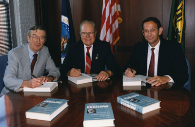 John McGuire, R. Max Peterson, and F. Dale Robertson at the book signing party for the 1991 reprint of the Fernow biography.