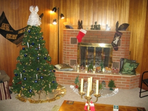 A southwestern North Dakota fireplace at the holidays