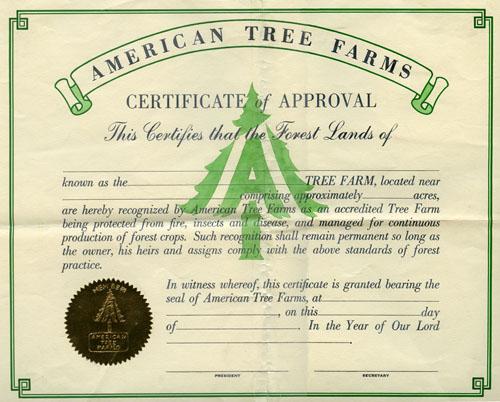 Tree Farm certificate