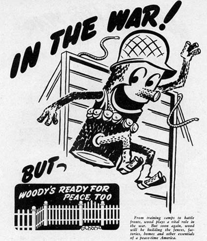 Woody wartime advertisement