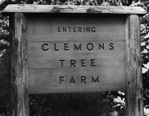 Clemons Tree Farm sign