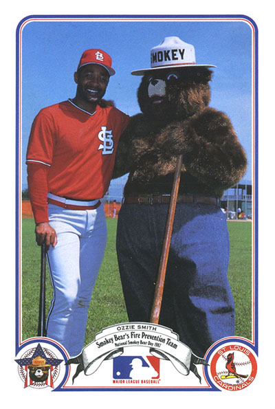 Ozzie Smith and Smokey Bear