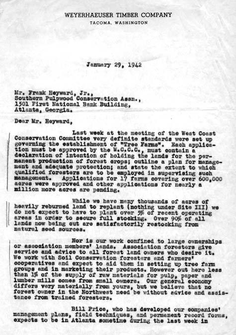 1942 tree farm letter