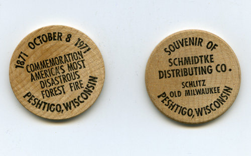 Peshtigo Fire commemorative wooden coins