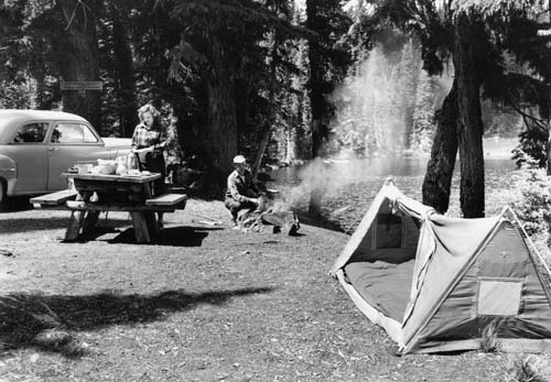 Camping at Gifford Pinchot National Forest, 1949.