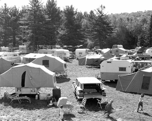 Camping at Gunstock Campground and Recreation Area, New Hampshire.
