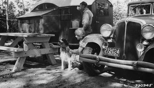 Trailer camping at Sawbill Campground, 1936.