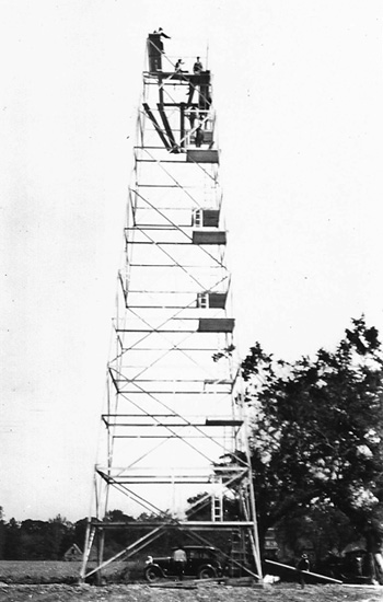 Hertford County, NC, fire tower under construction, 1928.