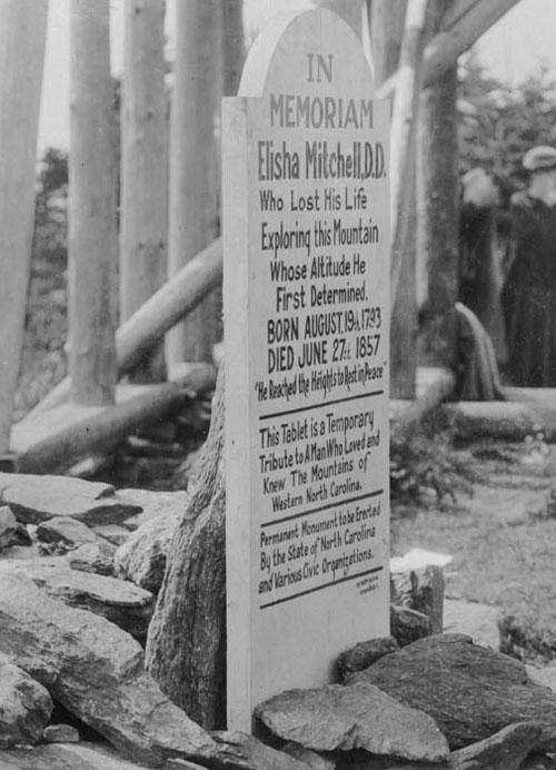 Elisha Mitchell temporary tablet 1922