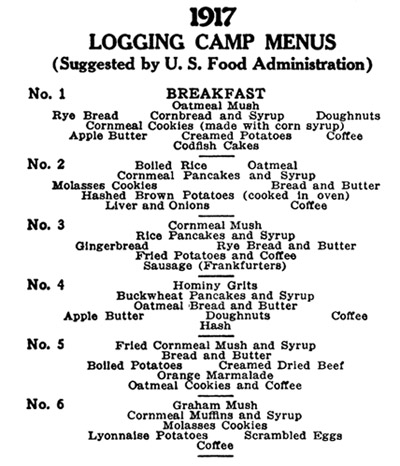 1917 Logging Camp Menu