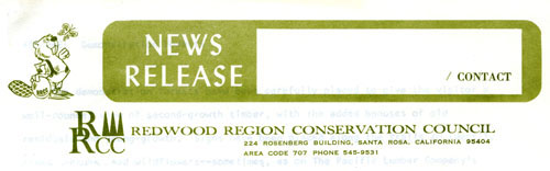 Redwood Region Conservation Council letterhead