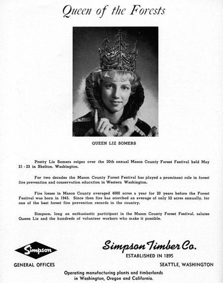 1964 Forest Festival Queen Liz Somers