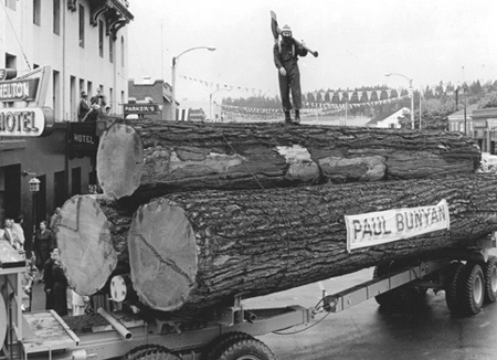 Paul Bunyan leads parade (FHS773)