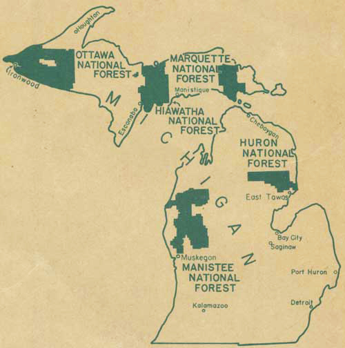 1941 Map of Michigan's National Forests