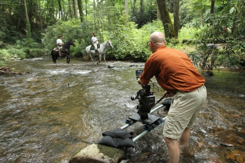 No shoot is too difficult for the Bonesteel team to capture. They even set up a camera in a cold mountain stream to get just the right shot. (Courtesy of Bonesteel Films)