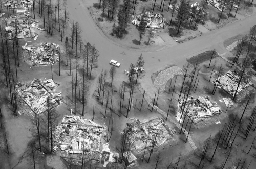 Forest homes burned in the 2002 Rodeo-Chediski wildfire, AZ. Such a scene is increasing in frequency. (Photo by Humphrey's Type 1 USDA/USDI Southwest Region Incident Management Team)