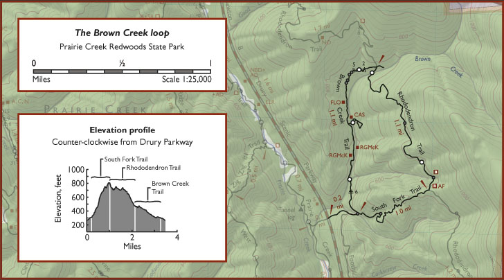 "Map is from the ""Trail Map of Redwood National and State Parks"" (Redwood Hikes Press, 2013)"