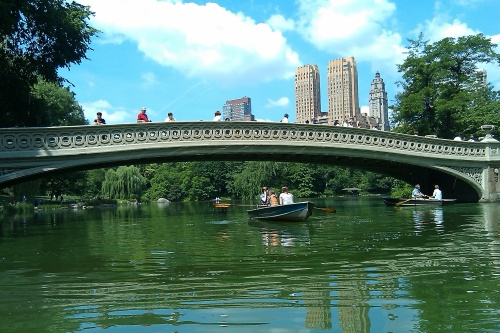 Central Park on a spring day. On any given day, you'll find people boating, walking, bicycling, rollerblading, playing ball, or picnicking. (Author's photo)