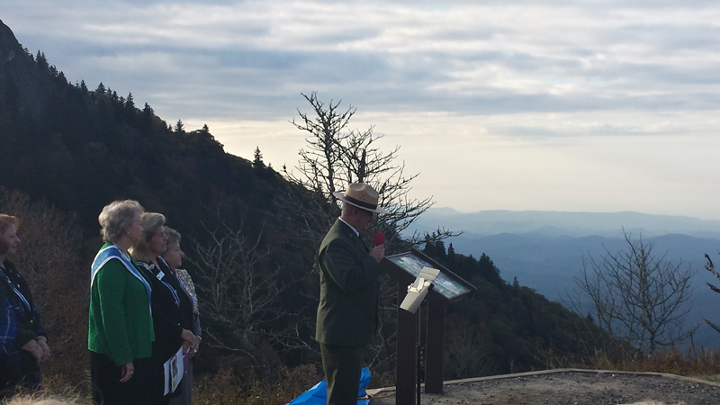 Blue Ridge Parkway Superintendent mark Woods addresses the crowd during the ceremony.
