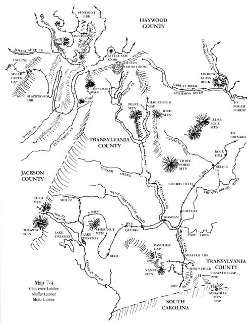 Map showing logging railroads in the early 20th century. From Thomas Fetters, Logging Railroads fo the Blue Ridge and Smoky Mountains: Volume 1, Cold Mountain, Black Mountain and White Top (2007)