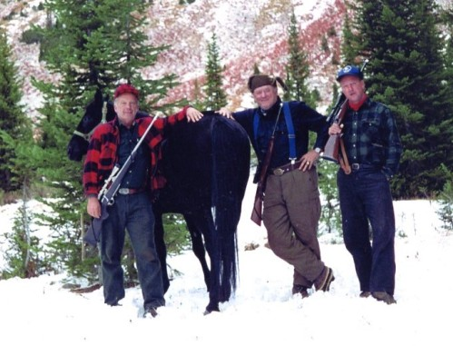 Hunting elk in 1994 in the Eagle Cap Wilderness, Wallowa-Whitman National Forest. (L-R) Rober Nelson, Director of Fish and Wildlife, U.S. Forest Service; Thomas; and James Applegate, professor, Rutgers University (FHS Photo Collection)