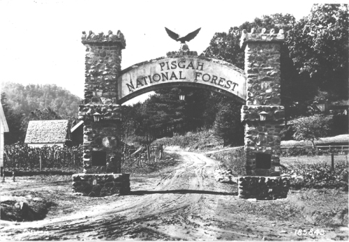 Normally the entrance to a national forest has a small sign with the Forest Service shield on it. This entrance to the Pisgah National Forest was a memorial arch constructed to honor the memory of the men of Transylvania County, North Carolina, killed in World War I. (U.S. Forest Service photo -- negative number 185843)