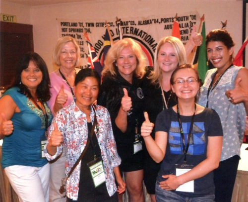 Grand Snark Robyn Beckett (center) with six new members of Hoo-Hoo, concatted at the 2016 convention.